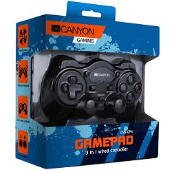 3in1 wired controller gamepad, hand-cooling, vibration feedback, dual tigger and rubberized surface(Compatible with PC, PS2, PS3)