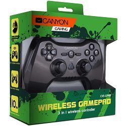 3in1 wireless gamepad, up to 8 hours of play time, transmission distance up to 10m, rubberized finishing, dual-shock vibration (Compatible with PC, PS2, PS3)