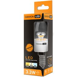 CANYON BE14CL3.3W230VN LED lamp, B38 shape, clear, E14, 3.3W, 220-240V, 150°, 262 lm, 4000K, Ra>80, 50000 h