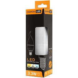CANYON BXE14FR3.3W230VN LED lamp, BXS38 shape, frosted, E14, 3.3W, 220-240V, 150°, 262 lm, 4000K, Ra>80, 50000 h
