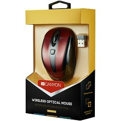 Red color, 3 buttons and 1 scroll wheel with 1000/1200/1600 switchable dpi plus 2 additional up/down direction buttons 2.4GHZ wireless optical mouse