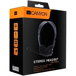 Headset CANYON CNR-FHS04 (20Hz-20kHz, External Microphone, Cable, 2.3m) Black, Retail