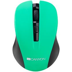 CANYON Mouse CNE-CMSW1(Wireless, Optical 800/1000/1200 dpi, 4 btn, USB, power saving button), Green