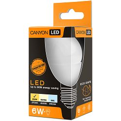 CANYON PE27FR6W230VW LED lamp, P45 shape, milky, E27, 6W, 220-240V, 150°, 470 lm, 2700K, Ra>80, 50000 h