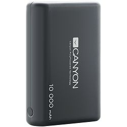 CANYON Power bank 10000mAh built-in 955570 Li-poly battery, Input 5V/2.1A, Output 5V/2.1A(Max), with Smart IC, Black, 3in1 USB cable length 0.3m, 90*62*22mm, 0.189Kg