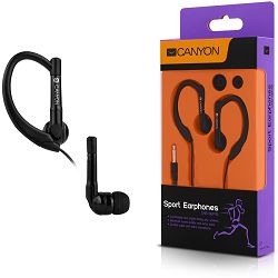 Canyon sport earphones, over-ear fixation, inline microphone, black