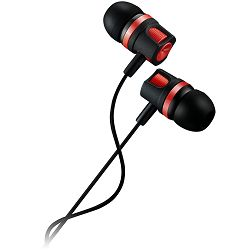 Stereo earphones with microphone, 1.2M, red
