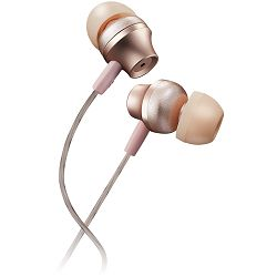 Stereo earphones with microphone, metallic shell, 1.2M, rose