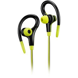 Canyon stereo sport earphones with microphone, 1.2m flat cable, lime