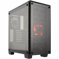 Corsair Crystal Series 460X Compact ATX Mid-Tower Case, 1x AF140L red LED and 1x AF120L fan included