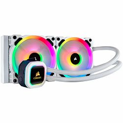 Corsair Hydro Series H100i RGB PLATINUM SE 240mm Liquid CPU Cooler, an all-in-one liquid CPU cooler with a 240mm radiator and vivid RGB lighting in brilliant white housing, built for extreme CPU cooli