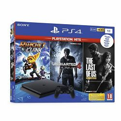 GAM SONY PS4 1TB Slim+Uncharted 4/The Last of Us/Ratchet&Cla