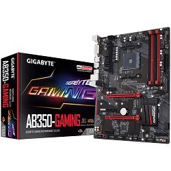 Gigabyte Main Board Desktop AB350-Gaming Socket AM4 (AMD RYZEN™ processor), 4*DDR4 3200, USB3.1/USB 2.0, DVI-D, HDMI, M.2, SATA III, RAID, GLAN, ATX