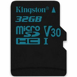 Kingston 32GB microSDHC Canvas Go 90/45 U3 UHS-I V30 Single Pack W/O Adptr  EAN: 740617276305
