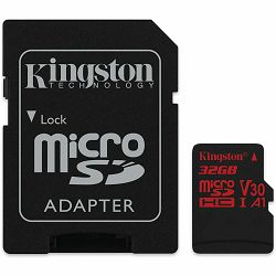 KINGSTON 32GB microSDHC Canvas React 100R/70W U3 UHS-I V30 A1 Card + SD Adptr