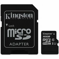 KINGSTON 16GB microSDHC Class 10 UHS-I 45MB/s Read Card + SD Adapter