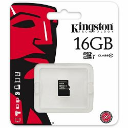 KINGSTON 16GB microSDHC Class 10 UHS-I 45R Flash Card Single Pack w/o Adapter