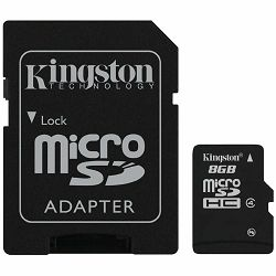KINGSTON Memory ( flash cards ) 8GB Micro SDHC Class 4, 1pcs with SD adapter