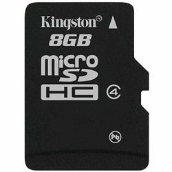 Kingston  8GB microSDHC Class 4 Flash Card Single Pack w/o Adapter, EAN: 740617154115