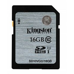Kingston SDHC UHS-I Class 10 Flash Card, 16GB