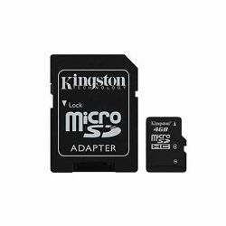 Memorijska kartica Kingston SD MICRO 4GB HC Class 4 + SD ada