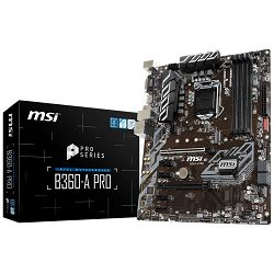 MSI Main Board Desktop B360 (S1151, DDR4, USB3.1, USB2.0, SATA III, M.2, DisplayPort, DVI-D - Requires Processor Graphics, 8-Channel(7.1) HD Audio with Audio Boost, Intel I219-V Gigabit LAN) ATX Retai