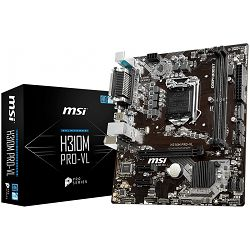 MSI Main Board Desktop H310 (S1151, DDR4, PCI-Ex16, 2xPCI-Ex1, USB3.1, USB2.0, SATA III, VGA, RealtekALC887 Audio, Serial port, Parallel port, GLAN) mATX Retail