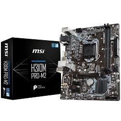 MSI Main Board Desktop H310 (S1151, DDR4, USB3.1, USB2.0, SATA III,M.2, HDMI, DVI-D, VGA - Requires Processor Graphics, 8-Channel(7.1) HD Audio with Audio Boost, Intel I219-V Gigabit LAN) mATX Retail