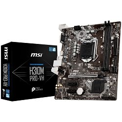 MSI Main Board Desktop H310 (S1151, DDR4, USB3.1, USB2.0, SATA III, HDMI, VGA - Requires Processor Graphics, 8-Channel(7.1) HD Audio with Audio Boost, Realtek 8111H Gigabit LAN) mATX Retail