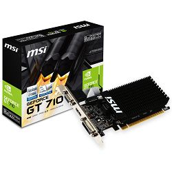 MSI Video Card GeForce GT 710 DDR3 2GB/64bit, 954MHz/1600GHz, PCI-E 2.0 x16, HDMI, DVI-D, VGA Heatsink, Low-profile, Retail