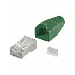 NaviaTec CAT5e shielded plug for round cable incl strain relief green 10pc