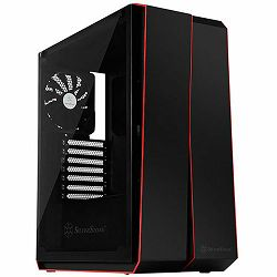 SilverStone REDLINE RL07 Midi Tower ATX Gaming Computer Case, Silent High Airflow Performance,  Full Tempered Glass, black