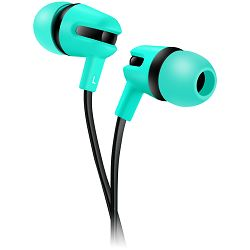 Stereo earphone with microphone, 1.2m flat cable, green