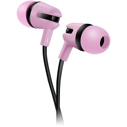 Stereo earphone with microphone, 1.2m flat cable, rose