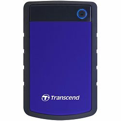 Transcend 2TB StoreJet 25H3 USB3.0, rubber casing, military-grade shock resistance with 3-stage shock protection, 3yrs, blue, Quick Reconnect Button