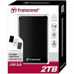 Transcend 2TB StoreJet 25A3 (USB3.0,internal HDD suspension system), black, 3yrs