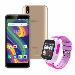 VIVAX Fun S1 gold +  CORDYS SMART KIDS WATCH Zoom pink