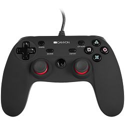 Wired controller gamepad with hand-cooling, vibration feedback, tigger and rubberized surface(Compatible with PC, PS4)