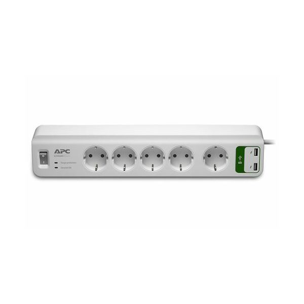 APC Essential SurgeArrest 5 outlets with 5V, 2.4A 2 port USB charger 230V Germany