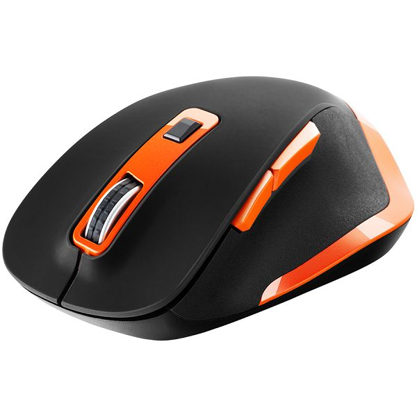 Canyon 2.4Ghz Wireless mouse, with 6 buttons,DPI 800/1200/1600/2000/2400,Battery:AAA*2 pcs , Black-Orange119.6*81.1*43.3mm86.8g
