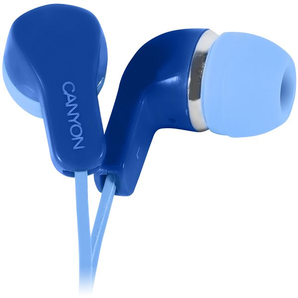 Stereo Earphones with inline microphone, Blue