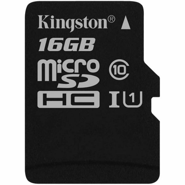 KINGSTON 16GB microSDHC Canvas Select 80R CL10 UHS-I Single Pack-w/o Adapter